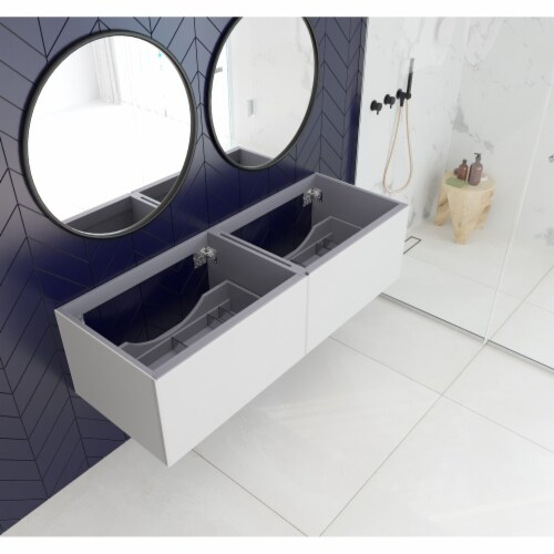 Vitri 60 - Cloud White Double Sink Cabinet Perspective: front