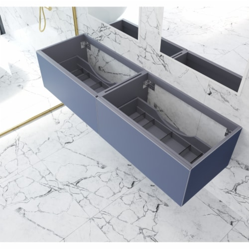 Vitri 72 - Nautical Blue Double Sink  Cabinet Perspective: front