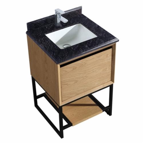 Alto 24 - California White Oak Cabinet + Black Wood Marble Countertop Perspective: front