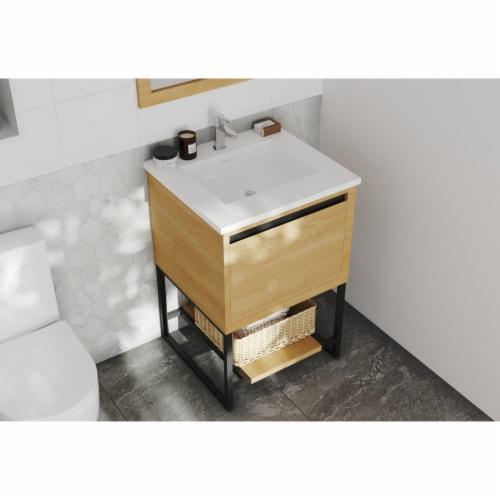 Alto 24 - California White Oak Cabinet + Matte White VIVA Stone Solid Surface Countertop Perspective: front