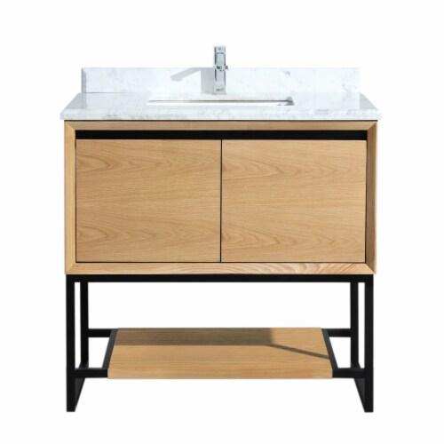 Alto 36 - California White Oak Cabinet + White Carrara Marble Countertop Perspective: front
