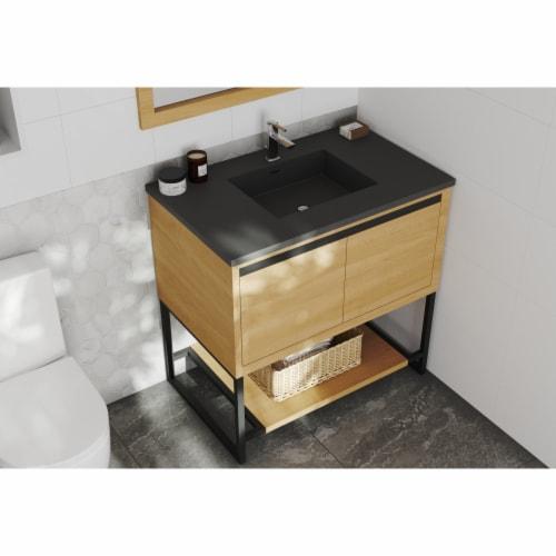 Alto 36 - California White Oak Cabinet + Matte Black VIVA Stone Solid Surface Countertop Perspective: front