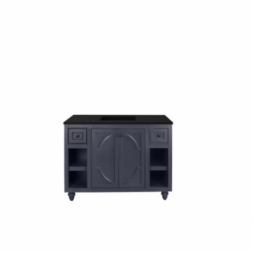 Odyssey - 48 - Maple Grey Cabinet + Matte Black VIVA Stone Solid Surface Countertop Perspective: front