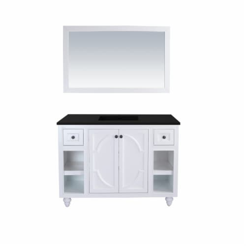 Odyssey - 48 - White Cabinet + Matte Black VIVA Stone Solid Surface Countertop Perspective: front