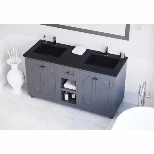 Odyssey - 60 - Maple Grey Cabinet + Matte Black VIVA Stone Solid Surface Countertop Perspective: front