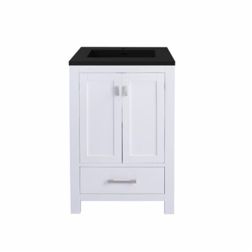 Wilson 24 - White Cabinet + Matte Black VIVA Stone Solid Surface Countertop Perspective: front