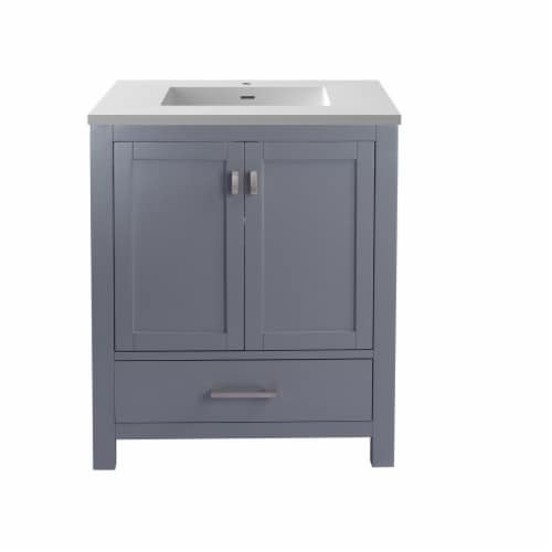 Wilson 30 - Grey Cabinet + Matte White VIVA Stone Solid Surface Countertop Perspective: front