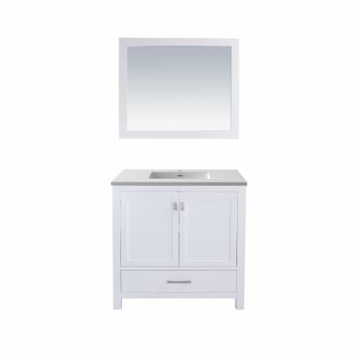 Wilson 36 - White Cabinet + Matte White VIVA Stone Solid Surface Countertop Perspective: front