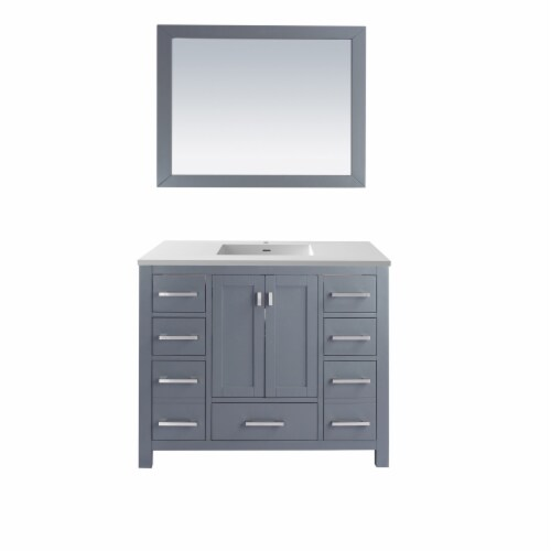 Wilson 42 - Grey Cabinet + Matte White VIVA Stone Solid Surface Countertop Perspective: front