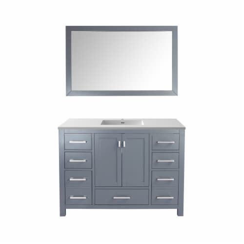 Wilson 48 - Grey Cabinet + Matte White VIVA Stone Solid Surface Countertop Perspective: front
