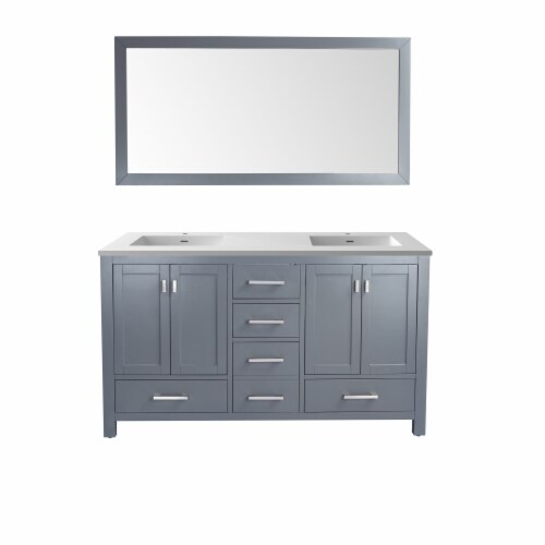Wilson 60 - Grey Cabinet + Matte White VIVA Stone Solid Surface Countertop Perspective: front