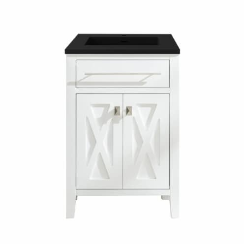 Wimbledon - 24 - White Cabinet + Matte Black VIVA Stone Solid Surface Countertop Perspective: front