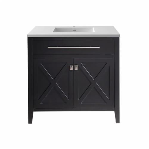 Wimbledon - 36 - Espresso Cabinet + Matte White VIVA Stone Solid Surface Countertop Perspective: front