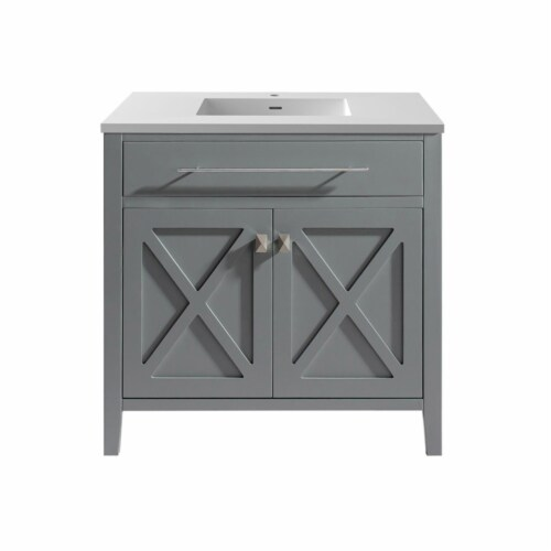Wimbledon - 36 - Grey Cabinet + Matte White VIVA Stone Solid Surface Countertop Perspective: front