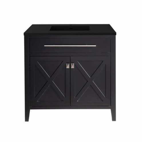 Wimbledon - 36 - Espresso Cabinet + Matte Black VIVA Stone Solid Surface Countertop Perspective: front