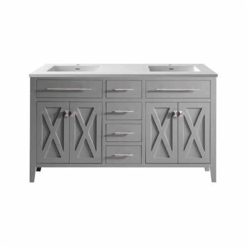 Wimbledon - 60 - Grey Cabinet + Matte White VIVA Stone Solid Surface Countertop Perspective: front