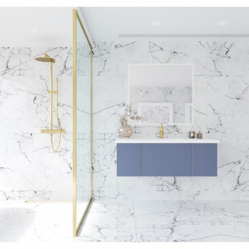 Vitri 48 - Nautical Blue Cabinet + Matte White VIVA Stone Solid Surface Countertop Perspective: front