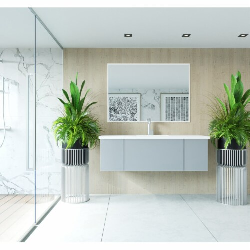 Vitri 54 - Fossil Grey Cabinet + Matte White VIVA Stone Solid Surface Countertop Perspective: front