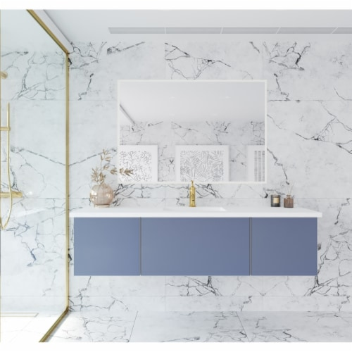 Vitri 66 - Nautical Blue Cabinet + Matte White VIVA Stone Solid Surface Countertop Perspective: front