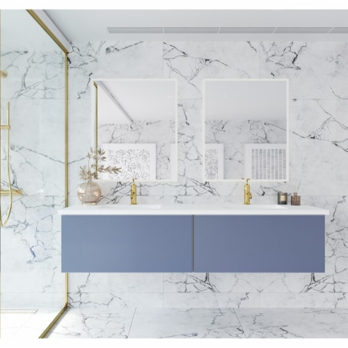 Vitri 72 - Double Sink Cabinet + Matte White VIVA Stone Solid Surface Double Sink Countertop Perspective: front