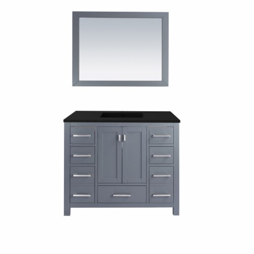 Wilson 42 - Grey Cabinet + Matte Black VIVA Stone Solid Surface Countertop Perspective: front