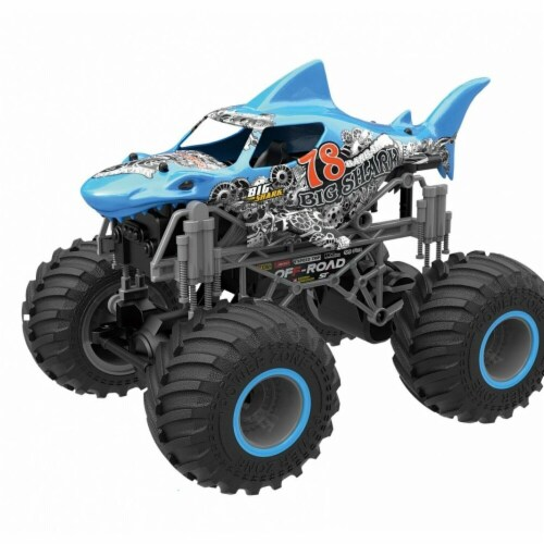 CIS-Associates 333-19164B-B 1-16 Scale Big Wheel Toy Truck with Shark Body, Blue Perspective: front
