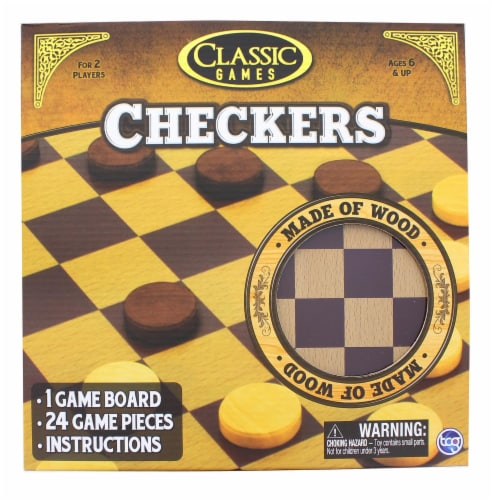 Classic Games Wood Checkers Set | Board & 25 Game Pieces Perspective: front