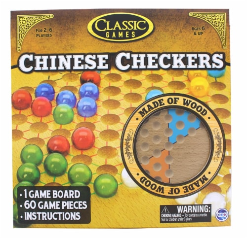 Classic Games Wood Chinese Checkers Set | Board & 60 Game Pieces Perspective: front