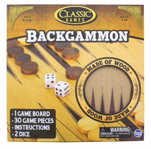 Classic Games Wood Backgammon Set | Board & 30 Game Pieces Perspective: front