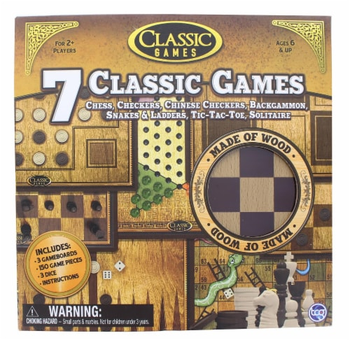 Classic Games Wood 7 Classic Games Set | 3 Boards & 150 Game Pieces Perspective: front