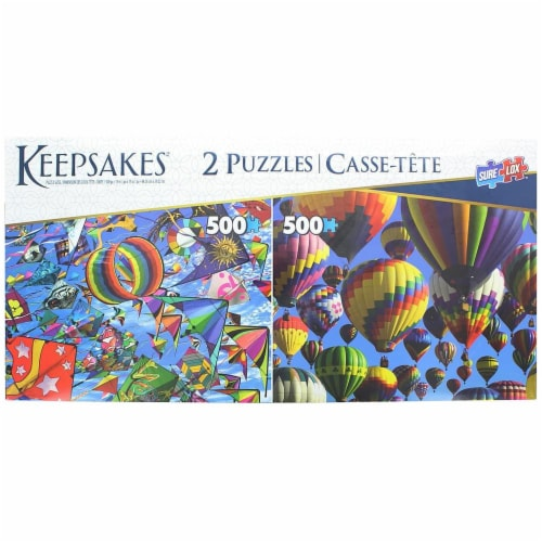 Set of 2 Keepsakes 500 Piece Jigsaw Puzzles   Balloons / Kites Perspective: front