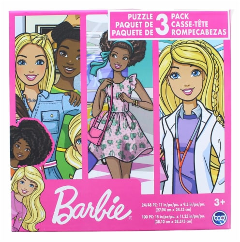 Barbie Jigsaw Puzzle 3 Pack |  24, 48, & 100 Pieces Perspective: front