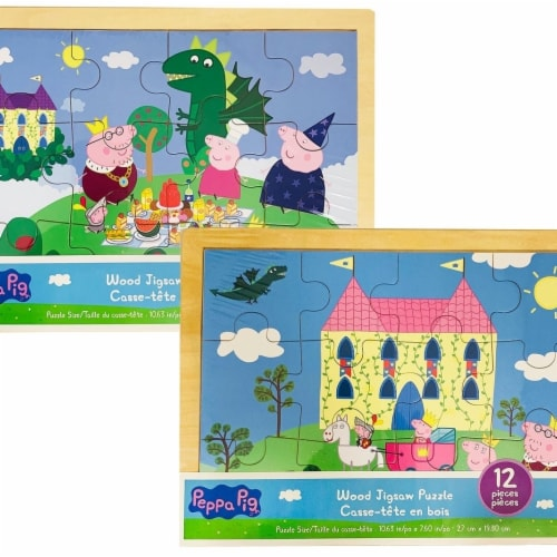 TCG Toys 30375755 Peppa Pig Wood Jigsaw Puzzle - 12 Piece - Assorted Designs Perspective: front