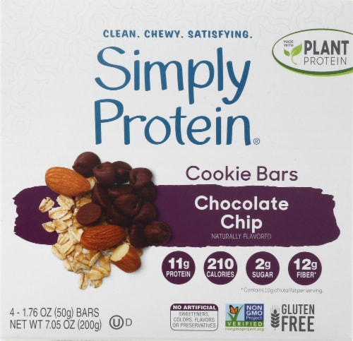 Simply Protein Chocolate Chip Cookie Baked Bars Perspective: front
