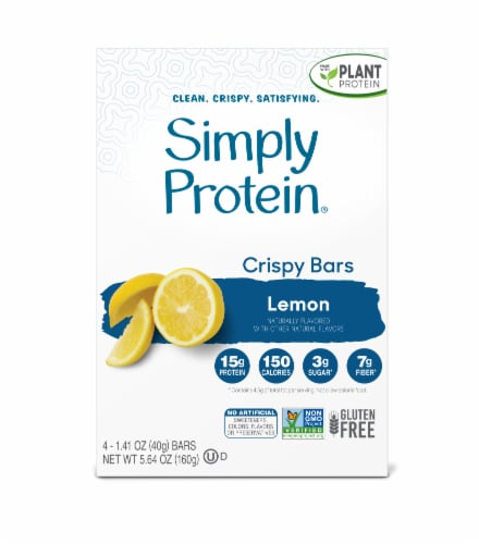 Simply Protein Lemon Crispy Bars Perspective: front