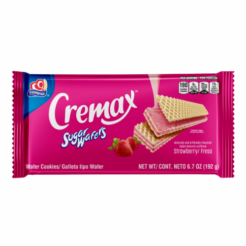 Gamesa Sugar Wafer Strawberry Cookie Snacks Perspective: front