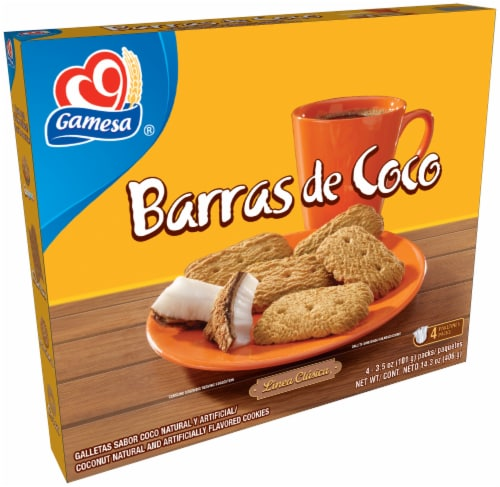 Gamesa Barras De Coco Coconut Cookies 4 Count Snacks Perspective: front