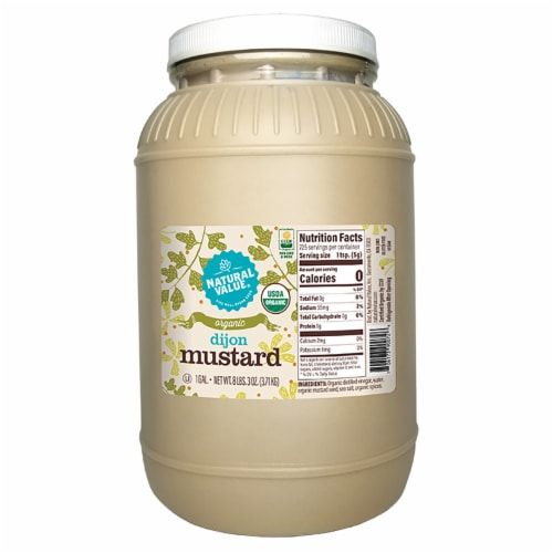 128-oz. Natural Value Food Service Organic DIJON Mustard / 4-ct. case Perspective: front