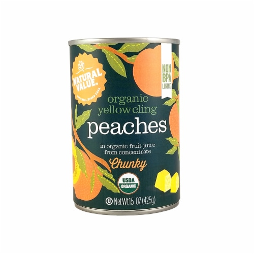 Natural Value 15 oz. Organic CHUNKY Peaches / 6-pack Perspective: front