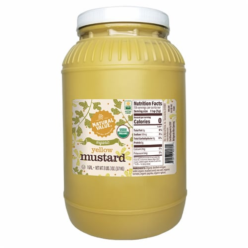 128-oz. Natural Value Food Service Organic YELLOW Mustard / 2-ct. pack Perspective: front
