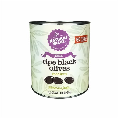 Natural Value 51-oz. Food Service Size PITTED Black Olives / 6-ct. case Perspective: front