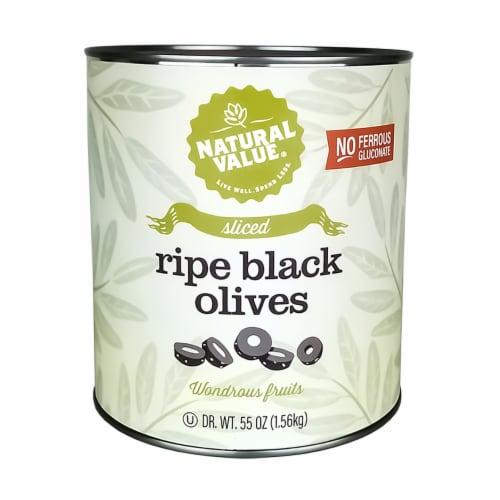 Natural Value 55-oz. Food Service Size SLICED Black Olives / 6-ct. case Perspective: front