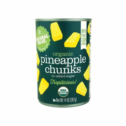 Natural Value 14 oz. Organic Pineapple CHUNKS / 6-pack Perspective: front