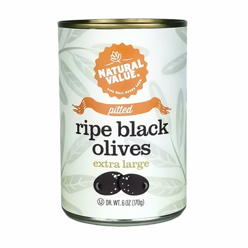 Natural Value 6 oz. EXTRA LARGE Pitted Black Olives / 12-ct. case Perspective: front