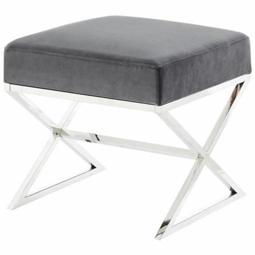 Posh Living Colin Velvet X-Leg Chrome Base Ottoman - Grey Perspective: front