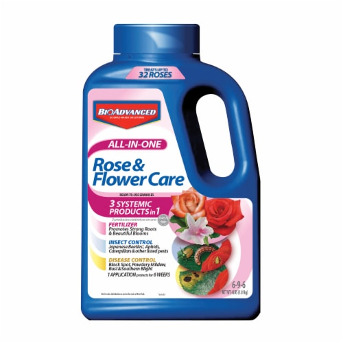 Bioadvanced All-In-One Rose & Flower Care Ready-To-Use Granules Perspective: front