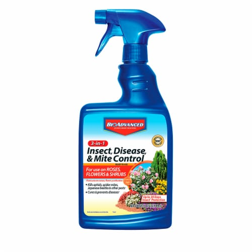 BioAdvanced 3-in-1 Ready-to-Use Insect Disease & Mite Control Spray Perspective: front