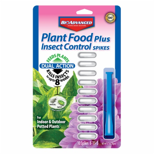 BioAdvanced Plant Food Plus Insect Control Spikes Perspective: front