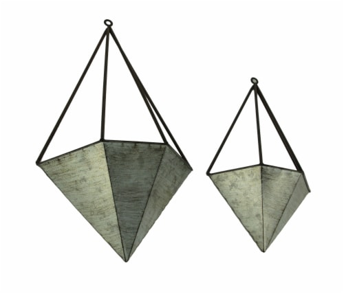 Galvanized Metal Diamond Shaped Angular Hanging Planters Set of 2 Perspective: front