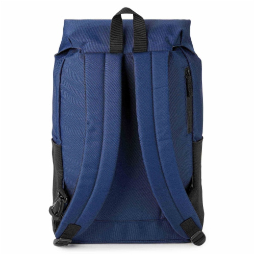Marin Collection Backpack Blue, Bag exterior is made from 16 recycled bottles Perspective: front